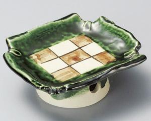 織部高台市松刺身鉢