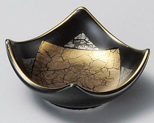 黒釉金銀角千代口