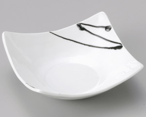 白釉黒一珍四方上り鉢(中)