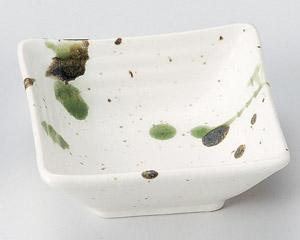 粉引黒オリベ流し段々角小鉢