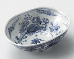 青締古染山水楕円鉢