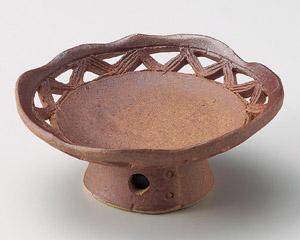 火色透かし丸高台皿(手造り)
