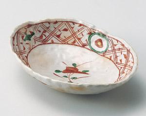 志野釉赤絵楕円7.0浅鉢
