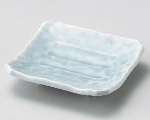 青白瓷足付四方皿