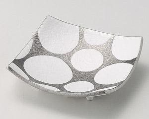 銀彩水玉四方皿