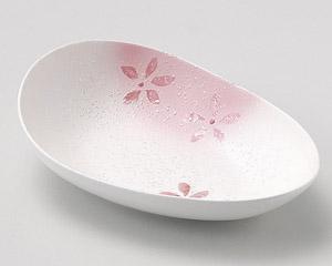 ラスター花散らし変型サラダボール(ピンク)