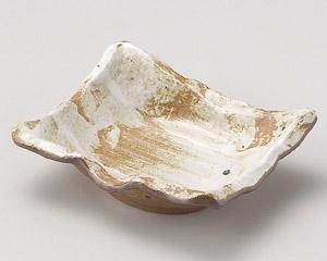 白油滴刷毛変型角刺身鉢