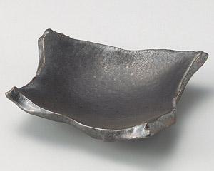 銀サビ黒ちぎり角皿(中)