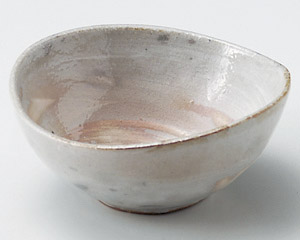 粉引刷毛目楕円4.5寸鉢
