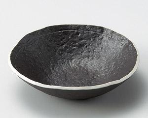 黒釉たたら風平鉢