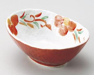 朱巻唐草花楕円鉢