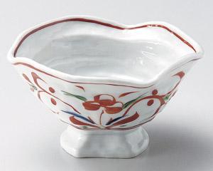 赤絵変型高台鉢