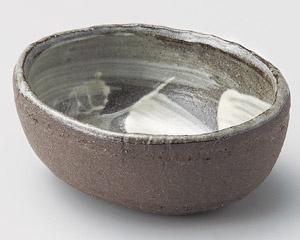 黒陶刷毛目楕円小鉢