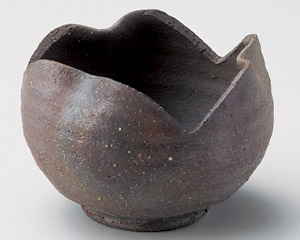 炭化窯変割山椒小鉢
