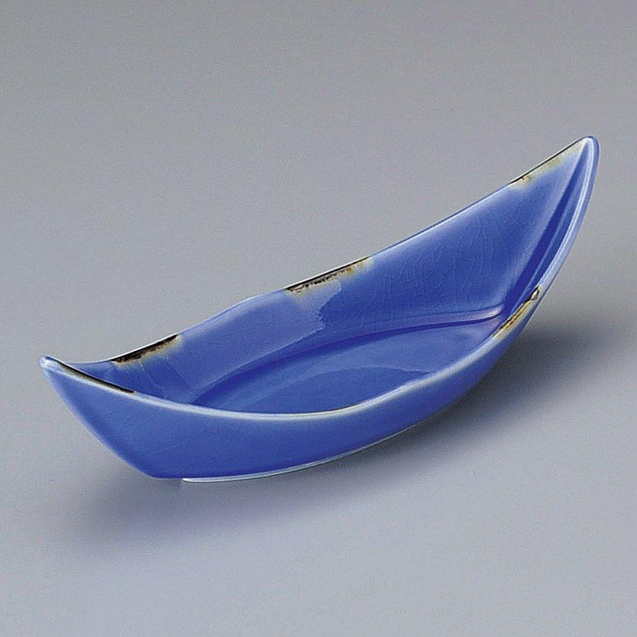 ルリ貫入舟型小付