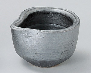 鉄釉片口ソギ鉢