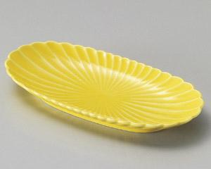 黄菊形楕円皿
