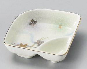 白吹竜田川扇型仕切鉢