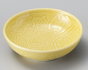 黄色唐草彫丸鉢