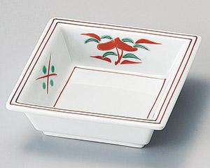 赤絵花四角鉢