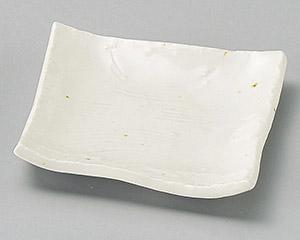 粉引(松花堂兼用)角小皿