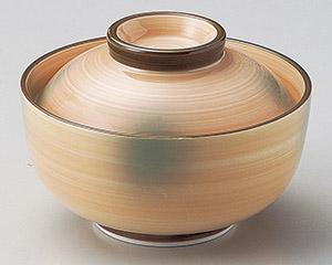 オレンジ巻グリーン吹京型円菓子碗