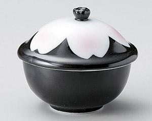 黒釉桜花むし碗