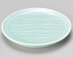 深海青磁波彫6.3皿 画像