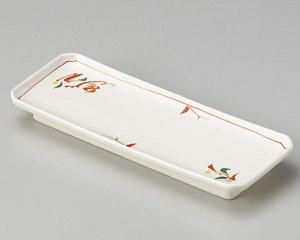 赤絵花細長皿 強化磁器・特価(在庫160限り)