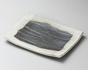 黒窯変掛け分けソキ7.0長角皿