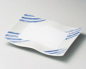 ブルー線ラスターウエーブ焼物皿