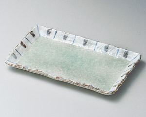 ヒワ釉渕十草9.0長角皿