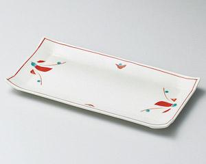 赤絵花長角皿