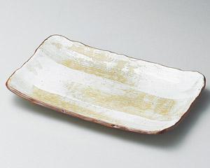 白油滴刷毛ナデ角8寸皿