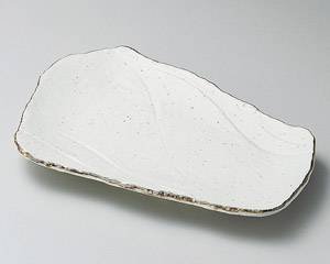 渕サビ巻粉引荒瀬焼物皿