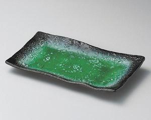 エメラルドグリーン華焼物皿