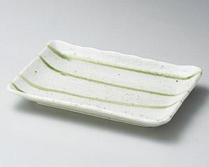 グリーン流し焼物皿