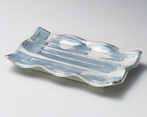藍染波型焼物皿