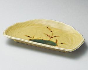 黄瀬戸芦半月焼物皿