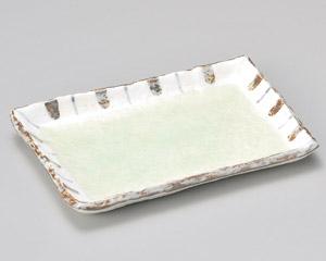 ヒワ釉渕十草7.0焼物皿