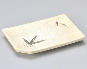 石焼織部笹長角8.0焼物皿