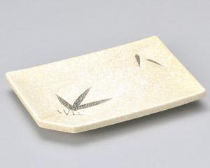 石焼織部笹長角7.0焼物皿