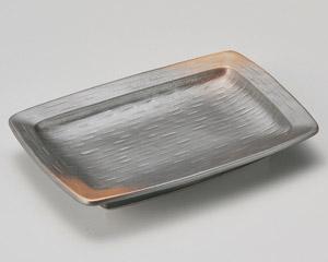 焼締なで角焼物皿(中)