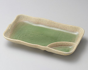 ヒワ釉古代仕切皿