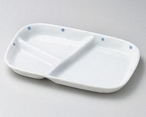 白釉ブルー水玉ランチプレート