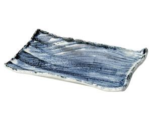 呉須刷毛枯山水26cm角皿(小)