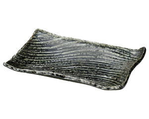 黒織部枯山水31cm角皿(中)