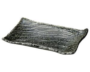黒織部枯山水26cm角皿(小)