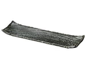 黒織部枯山水41cm長角皿大