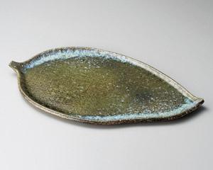 焼締ビードロ13.0葉形皿